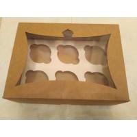 Картонная коробка для капкейков с окошком на 6 шт.Крафт. Размер 240*180*90