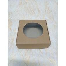 Коробка-крафт для пряника,конфет,бижутерии,макаронс.Размер 100*100*36 мм.,с окошком.