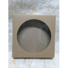 Коробка-крафт для пряника, конфет, бижутерии. Размер 200*200*35 мм., с окошком.