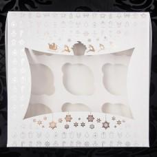 Новогодняя коробка для 9 капкейков(золото тиснение). Размер 240*250*90