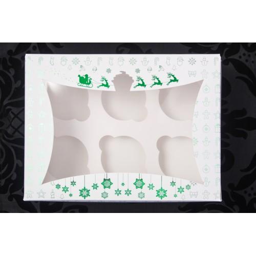 Новогодняя коробка для 6 капкейков (зелёное тиснение). Размер 240*180*90