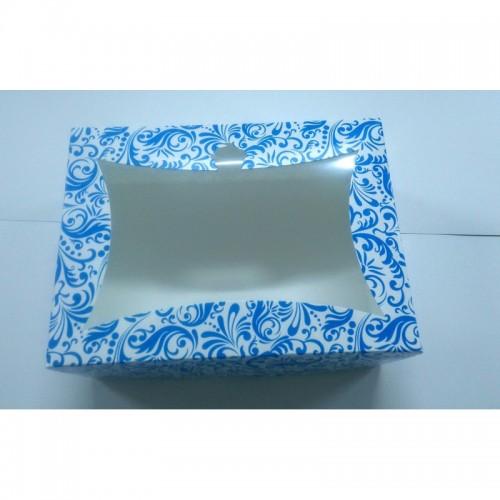 Картонная коробка на 6 капкейков,с окошком,размер 240*180*90 Голубая
