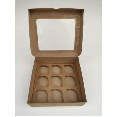 Коробка на 9 капкейков с окном, крафт-картон, 240*250*90