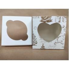 """Коробка на 1 капкейк """"Merry Christmas"""" (сердце), печать золотом, 90*90*90"""