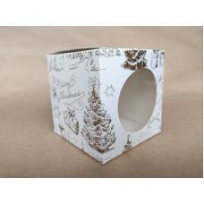 """Коробка на 1 капкейк """"Merry Christmas"""" (круг), печать золотом, 90*90*90"""