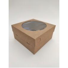 Коробка на 4 капкейка с окном, крафт-картон, 200*200*105