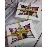 Картонная коробка для капкейков с окошком на 6 шт. Размер 240*180*90