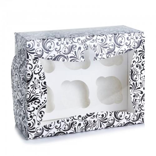 Картонная коробка на 6 капкейков,с окошком,размер 240*180*90 Черная