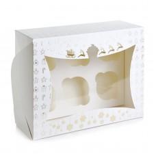 Новогодняя коробка для 6 капкейков (золото тиснение) Размер 240*180*90