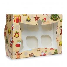"""Коробка на 6 капкейков """"Новогодняя"""" с окошком, 180*240*90"""