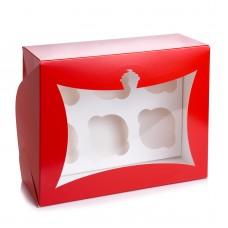 """Коробка на 6 капкейков """"Красная"""" с окошком, 180*240*90"""