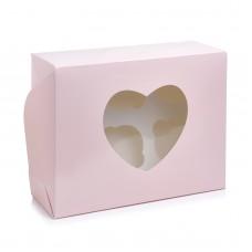 """Коробка на 6 капкейков """"Сердце"""" пудра, 180*240*90"""