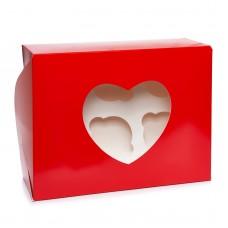 """Коробка на 6 капкейков """"Сердце"""" красная, 180*240*90"""