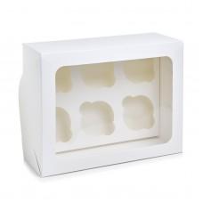 Коробка на 6 капкейков, прямоугольное окно, 240*180*110