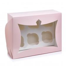 """Коробка на 6 капкейков с окном """"кексик"""" розовая, 240*180*90"""