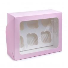 Коробка на 6 капкейков с прямоугольным окном розовая, 240*180*90