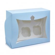 """Коробка на 6 капкейков с окном """"кексик"""" голубая, 240*180*90"""