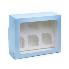 Коробка на 6 капкейков с прямоугольным окном голубая, 240*180*90