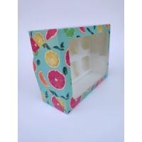 """Коробка """"Цитрусовые"""" на 6 капкейков (прямоугольное окно), 240*180*90"""