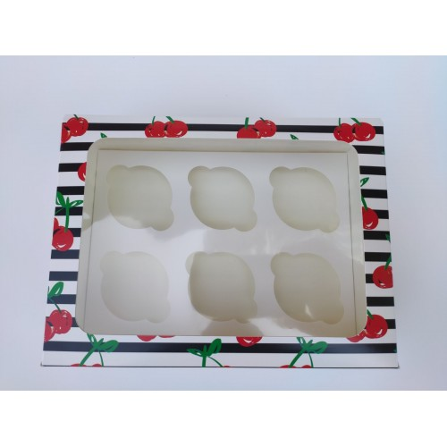 """Коробка """"Вишенки"""" на 6 капкейков (прямоугольное окно), 240*180*90"""
