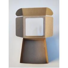 Коробка для макаронс, эклеров с окном, крафт, 150*150*50