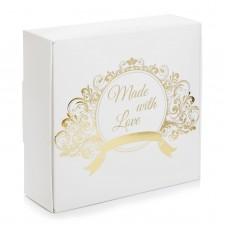 "Коробка ""Make with love"" тиснение золотом для макаронс, пряников, 150*150*50"