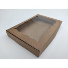 Коробка для пряников крафт (окно волна), 220*150*30
