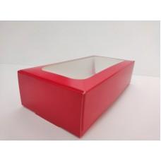 """Коробка """"Красная"""" с окном для макаронс, пряников, 200*100*50"""