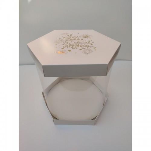 """Коробка """"Шестигранная Happy Birthday"""" с золотым тиснением, для торта, цветов"""